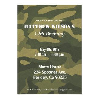 Army Camoflauge Custom Invitation