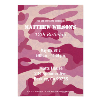 Army Camoflauge Personalized Invites