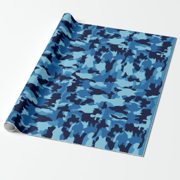 Army camouflage Blue pattern Wrapping Paper