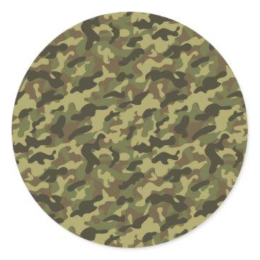 Army Camouflage Classic Round Sticker
