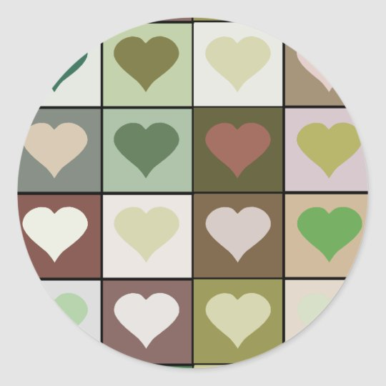 Army camouflage color Heart pattern Classic Round Sticker