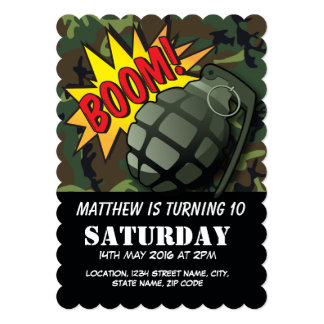 Army Camouflage Comic Grenade Kids Birthday Card