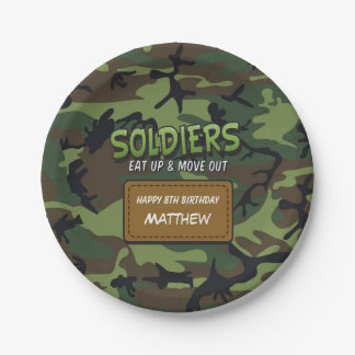 Army Camouflage Comic Kids Birthday Paper Plate