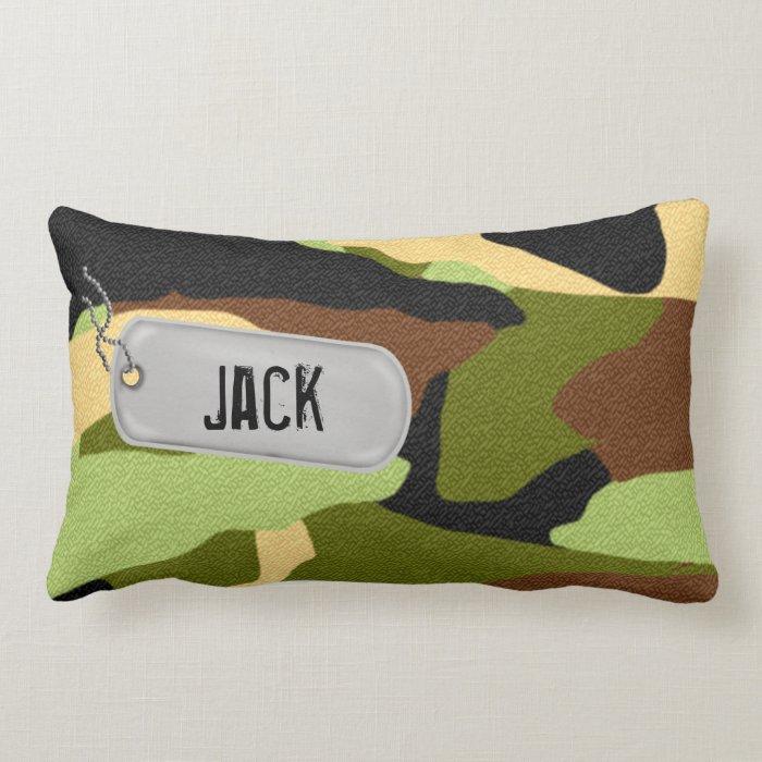 Army Camouflage Dog tag Lumbar Pillow