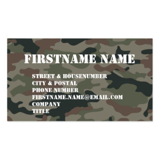 Army Camouflage Green Brown Soldier Double-Sided Standard Business Cards (Pack Of 100)