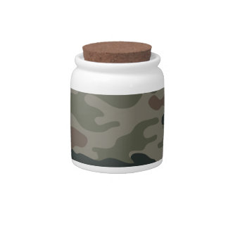 Army Camouflage in Green and Brown Military Candy Jars