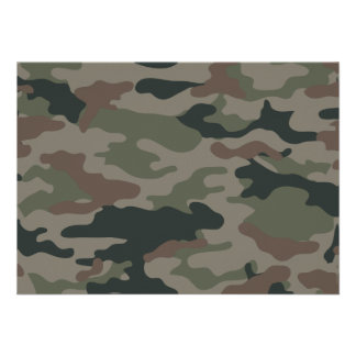 Army Camouflage in Green and Brown Military Custom Invitation