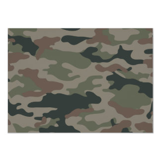 Army Camouflage in Green and Brown Military 4.5x6.25 Paper Invitation Card