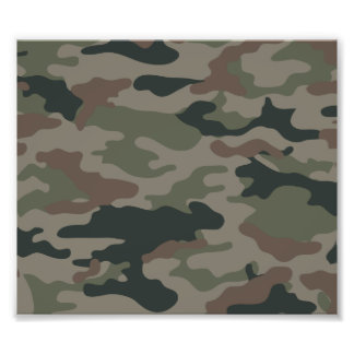 Army Camouflage in Green and Brown Military Photo Print