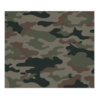 Army Camouflage in Green and Brown Military Poster