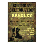 Army Camouflage Military Boots Kids Birthday 5x7 Paper Invitation Card
