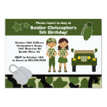 Army Camouflage Soldier Kids Birthday Party Invitation