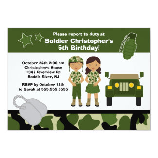 Army Camouflage Soldier Kids Birthday Party 5x7 Paper Invitation Card