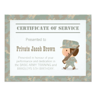 Army Certificate of Service Thank You Birthday Card