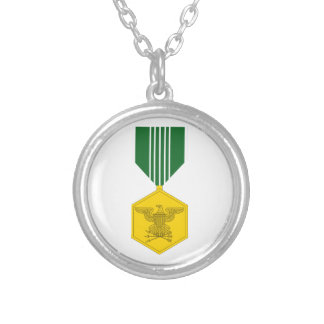 Army Commendation Medal Round Pendant Necklace
