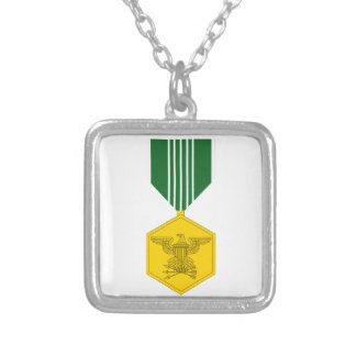 Army Commendation Medal Square Pendant Necklace