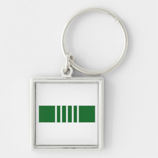 Army Commendation Ribbon Silver-Colored Square Keychain