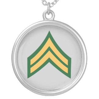 Army Corporal E4 Round Pendant Necklace