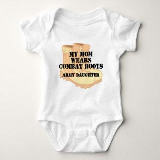 Army Daughter Mom Desert Combat Boots Baby Bodysuit