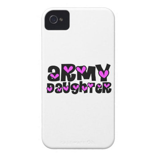 Army Daughter Pink Hearts iPhone 4 Case-Mate Cases