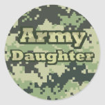 Army Daughter Round Stickers