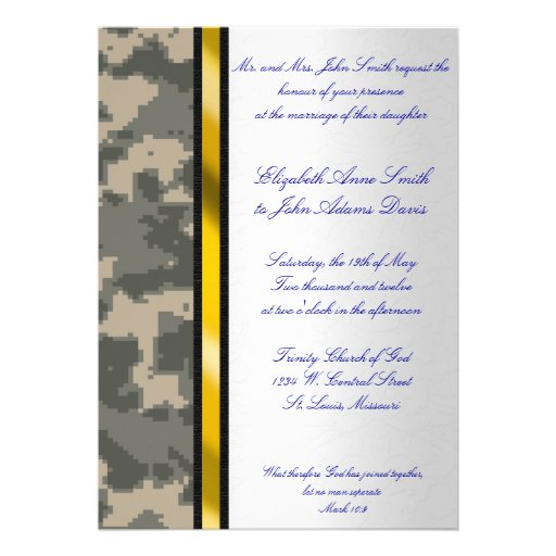 Army Digital Camouflage Wedding Invitation