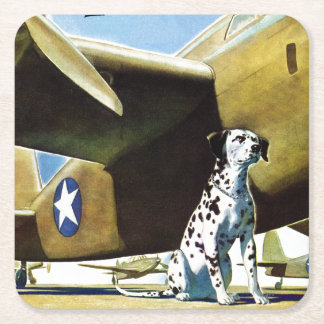 Army Dog Square Paper Coaster