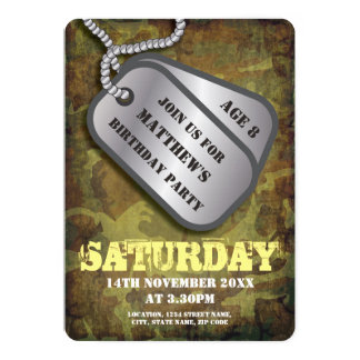 Army Dog Tags Rustic Kids Birthday Card