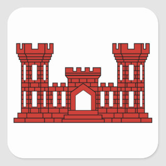 Army Engineers - Red Square Sticker