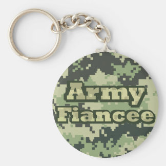 Army Fiancee Basic Round Button Keychain
