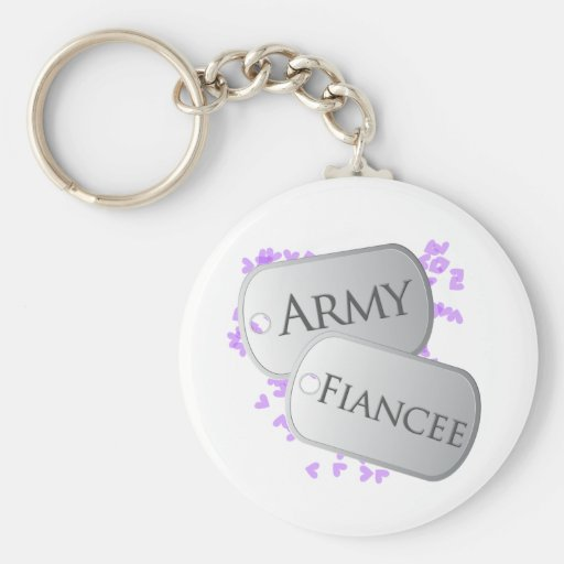 Army Fiancee Dog Tags Basic Round Button Keychain