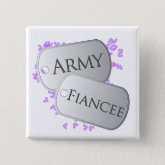 Army Fiancee Dog Tags Button