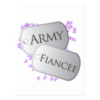 Army Fiancee Dog Tags Postcard
