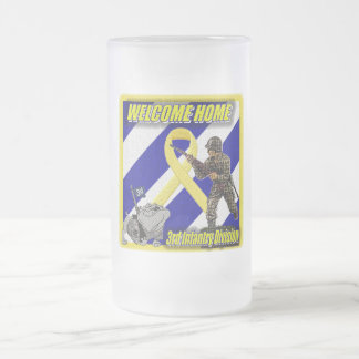 army frosted glass beer mug