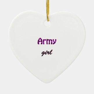 Army Girl Ceramic Ornament