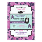 ARMY GIRL SOLDIER TROOP TANK INVITE BIRTHDAY PARTY