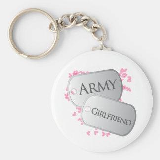 Army Girlfriend Dog Tags Basic Round Button Keychain
