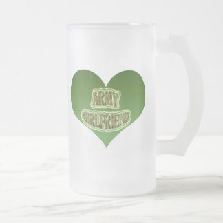 Army Girlfriend Frosted Glass Beer Mug