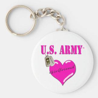 Army Girlfriend Pink Heart & Dog Tags Keychain