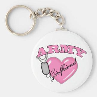 Army Girlfriend Pink Heart N Dog Tag Keychain
