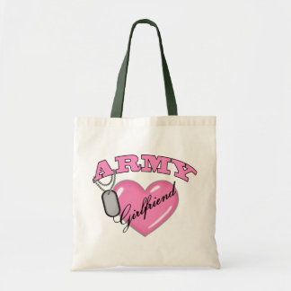 Army Girlfriend Pink Heart N Dog Tag Tote Bag