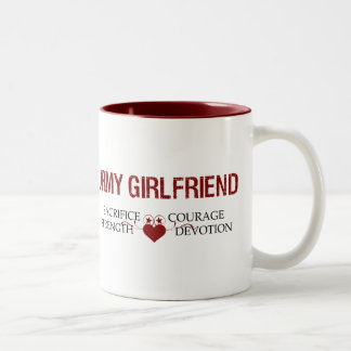 Army Girlfriend Sacrifice, Strength, Courage Two-Tone Coffee Mug