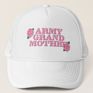 Army Grandmother Pink Roses Trucker Hat