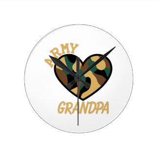 Army Grandpa Round Clock
