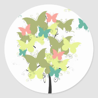 Army Green Butterfly Tree Classic Round Sticker