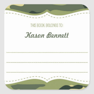 Army Green Camouflage bookplate book plate BOY