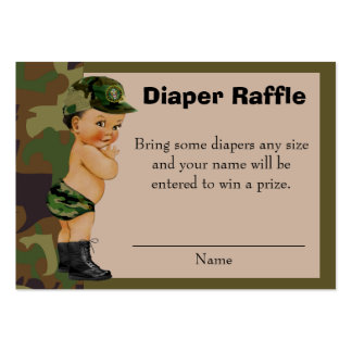 Army Green Camouflage Diaper Raffle Insert Large Business Card