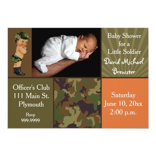 Army Green Camouflage Photo Baby Shower Invitation