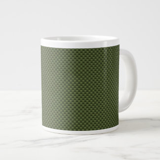 Army Green Carbon Fiber Print Giant Coffee Mug