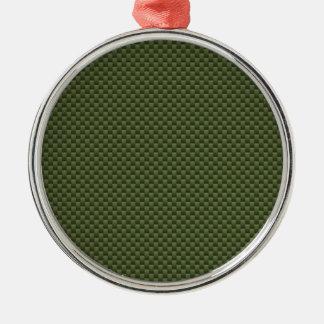 Army Green Carbon Fiber Print Round Metal Christmas Ornament